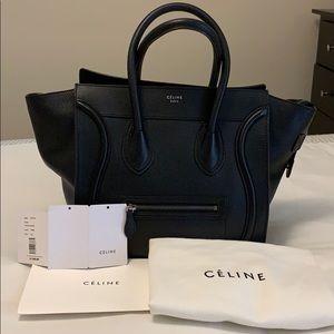 Celine mini luggage tote handbag black leather
